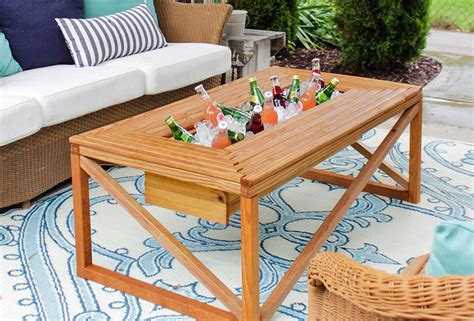 patio table with built in cooler 13 diy cooler table plans to build for outdoor beer