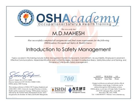 health and safety certificate template osha management in safety certificate