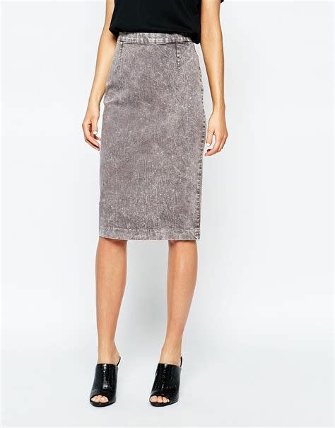 Cheap Monday Pencil lyst cheap monday denim pencil skirt in gray