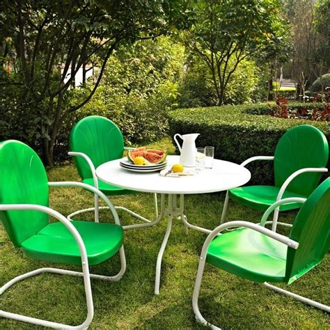 Patio Dining Set Green Crosley Furniture Griffith 5 Metal Patio Dining Set