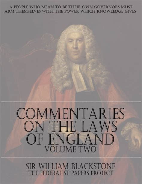 commentaries on the laws of england in four books vol 2 commentaries on the laws of england volume two the