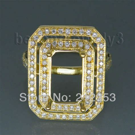 vintage emerald cut 7x11mm 18kt yellow gold ring settings