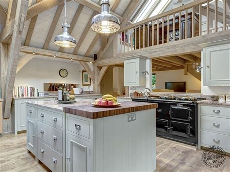 Open Plan Kitchen Diner Designs oak framed kitchen interior with mezzanine gallery