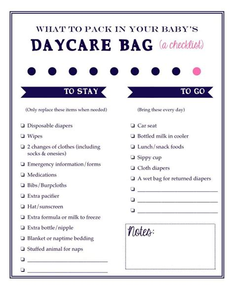 what to pack in your baby s daycare bag a free printable