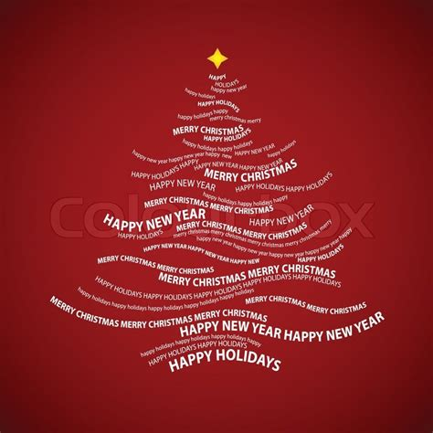 christmas tree shape  words typographic composition vector stock vector colourbox