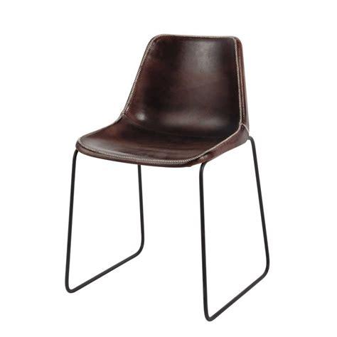 metall stuhl stuhl im industrial stil aus leder und metall braun