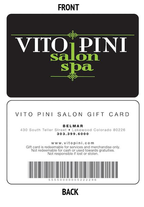 Salon Gift Cards Online - the vito pini gift card vitopini salon spa