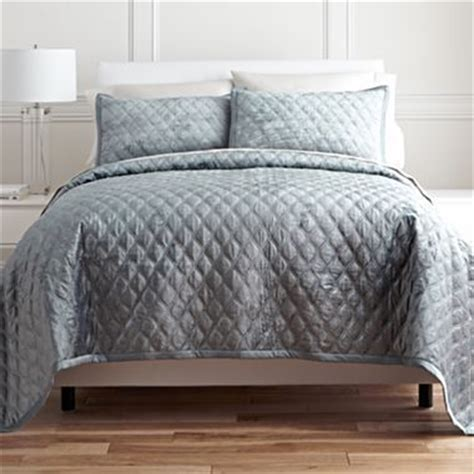 jcpenney coverlet lustrous steel royal velvet 174 ogee velvet coverlet set