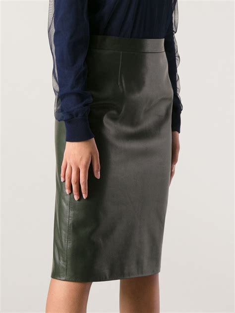 gucci gucci leather pencil skirt  green lyst
