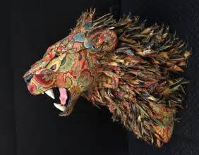Upholstered faux taxidermy heads and animals by kelly rene jelinek by