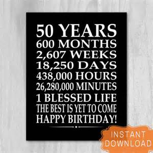 50th birthday sign digital file instant download birthday