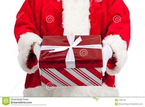 santa claus giving christmas presents stock photos image