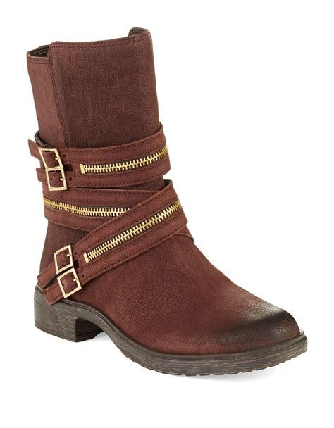 zipper boots lyst vince camuto tavi zipper boots in brown