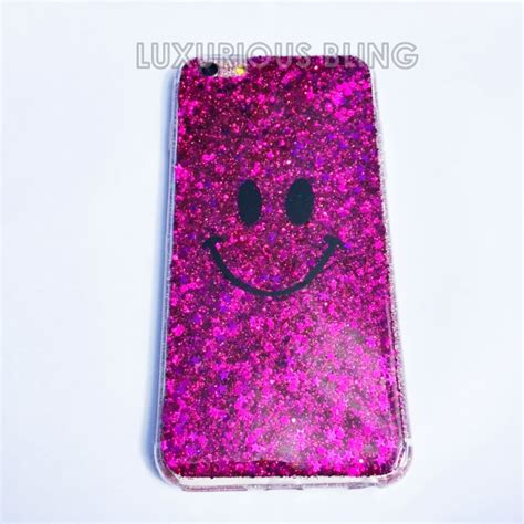 Casing Iphone 6 Plus Pink Glitter pink glitter smiley iphone iphone 6 6 plus