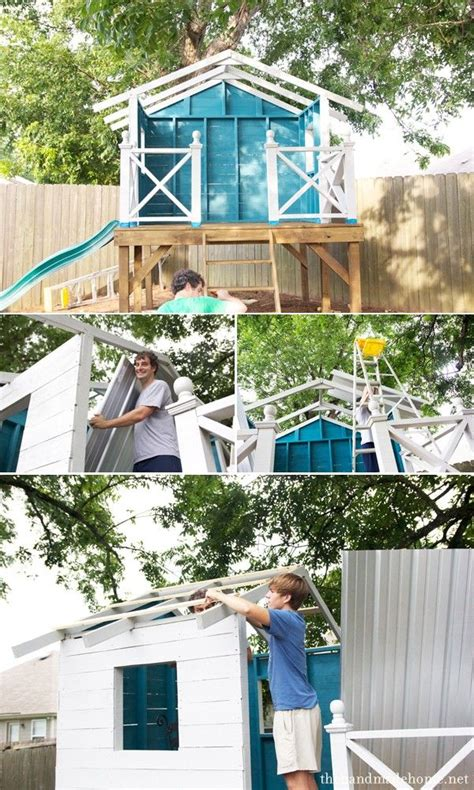 Handmade Home Playhouse - how to build a treehouse our backyard roof