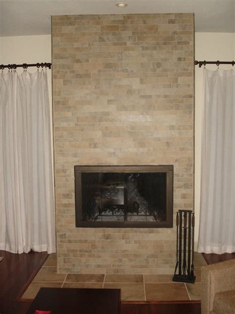 Fireplace Ceramic Panels by Fireplace Porcelain Stacked Tile Traditional Living