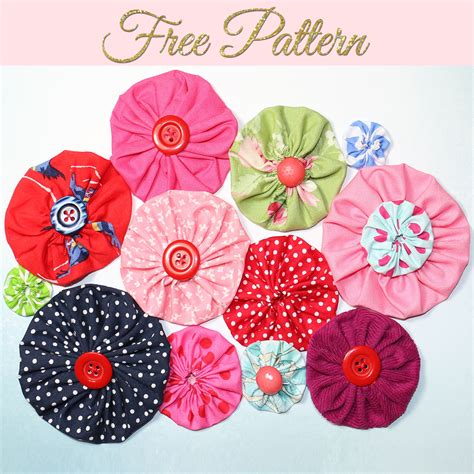 how to make fabric yo yos diy fabric flowers free template treasurie