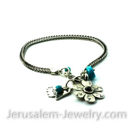 hamsa charms for jewelry silver hamsa and flower charms with turquoise jerusalem