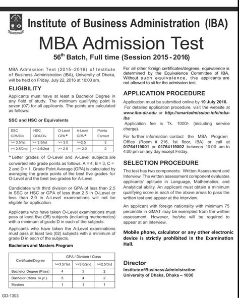 Mba Admission National Bangladesh by Dhaka Iba Mba Admission Circular 2016 Bd