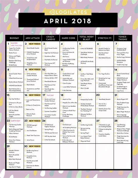 workout calendar april 2018 workout calendar blogilates