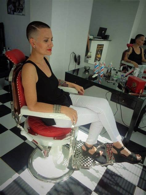 female in barber chair getting buzzcut 690 best images about haare salon assessor on pinterest