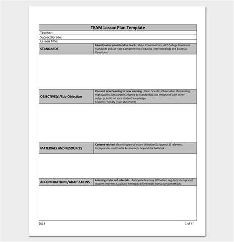 team plan template lesson plan outline template 23 exles formats and