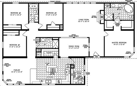 4 bedroom double wide mobile home floor plans triple wide mobile home floor plans images of