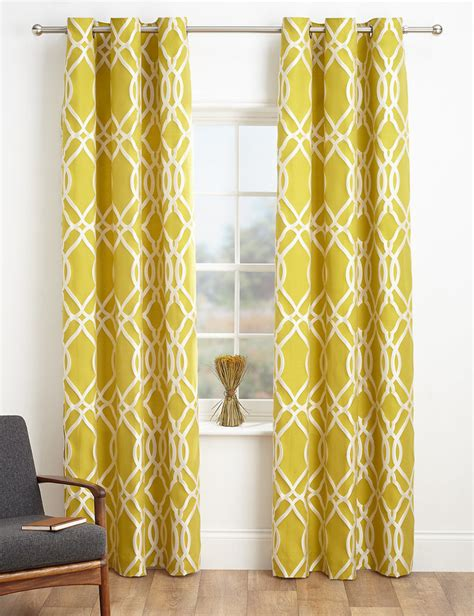 yellow and grey patterned curtains marks and spencer geometric jacquard eyelet curtains