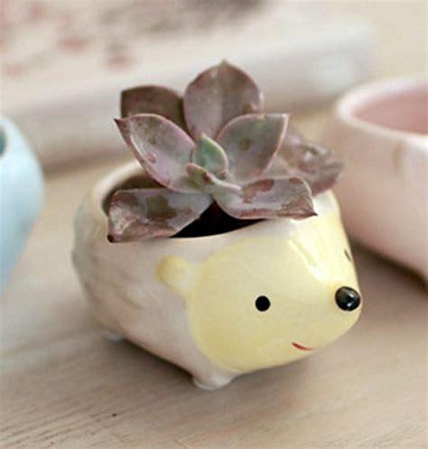 cute hedgehog flower pot mini ceramic planter