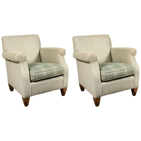 overstuffed armchairs pair of baker overstuffed armchairs at 1stdibs