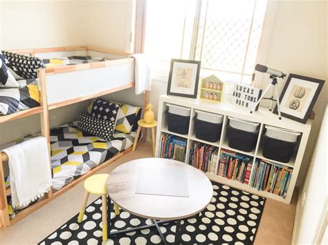 Bedroom Styling by Shared Boys Geometrical Bedroom Combination Of Ikea And