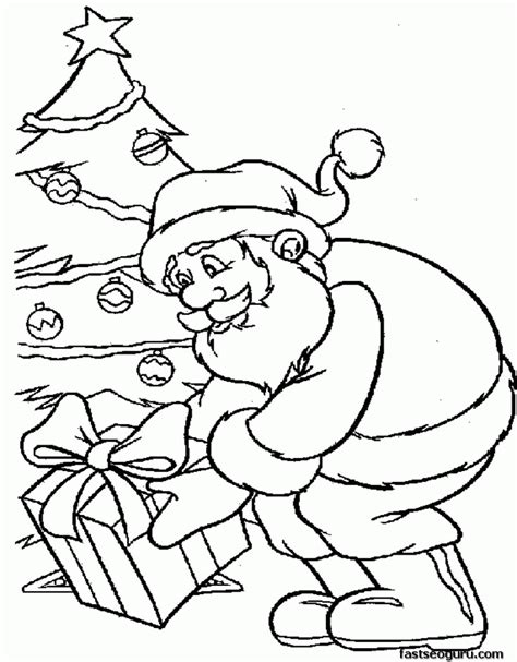 santa christmas tree coloring page santa cause presents under christmas tree coloring pages