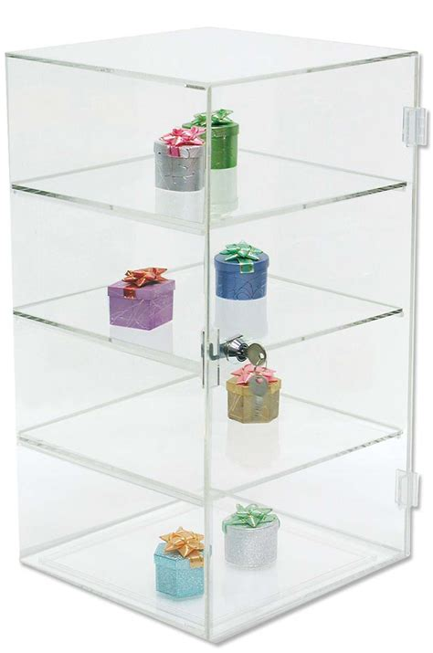 acrylic jewelry display with 3 shelves 18h