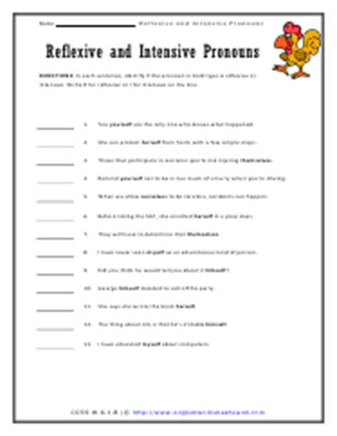 Reflexive And Intensive Pronouns Worksheet by Reflexive And Intensive Pronouns Worksheets