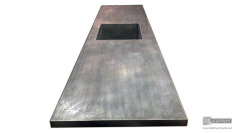zinc counter top  integrated sink dark patina matte finish