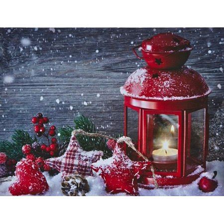 lighted canvas with timer battery operated led lighted candle lantern canvas