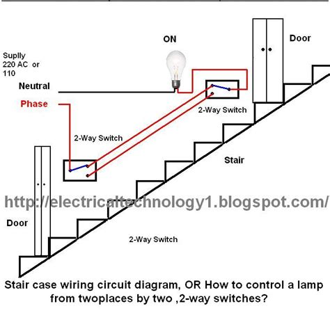 how to wire a 2 way switch diagram staircase wiring circuit diagram electrical technolgy