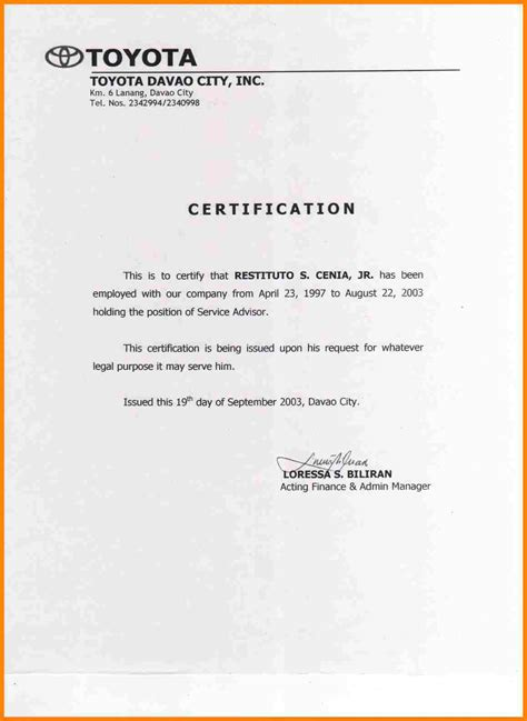 certification of employment letter format 10 sle of certification letter of employment farmer