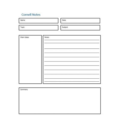 cornell note template 36 cornell notes templates exles word pdf