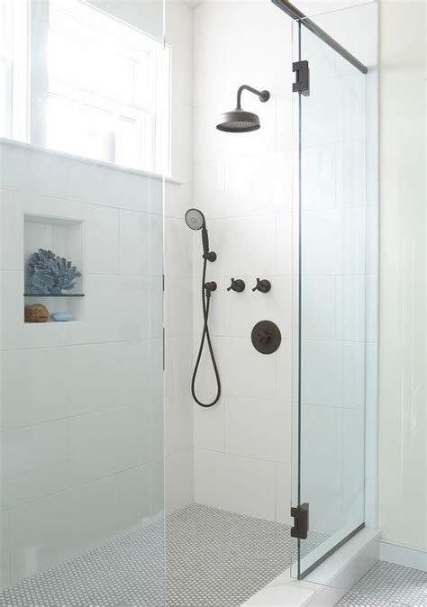white shower glass walk in shower with white ceramic tiles and blue