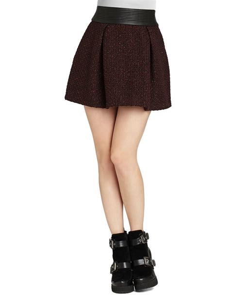 bcbgeneration tweed a line skirt in brown brulee lyst