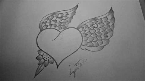 imagenes de corazones con una rosa clavada como dibujar un coraz 243 n con alas de angel a lapiz paso a