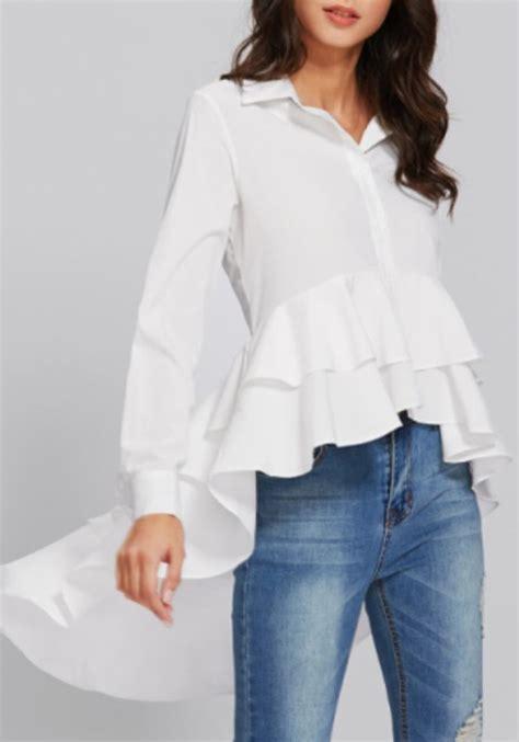 Irregular Sleeve Blouse white patchwork ruffle irregular high low sleeve