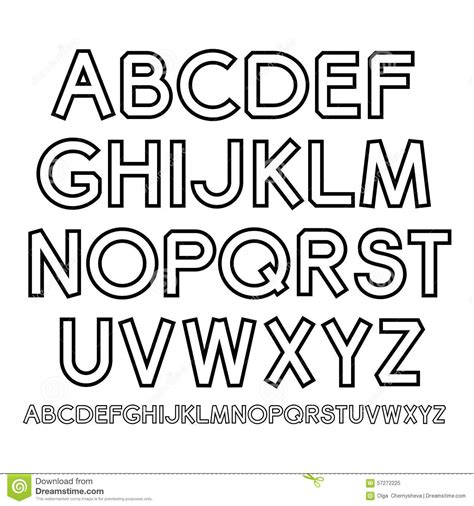 free printable outline fonts vector outline alphabet stock vector illustration of