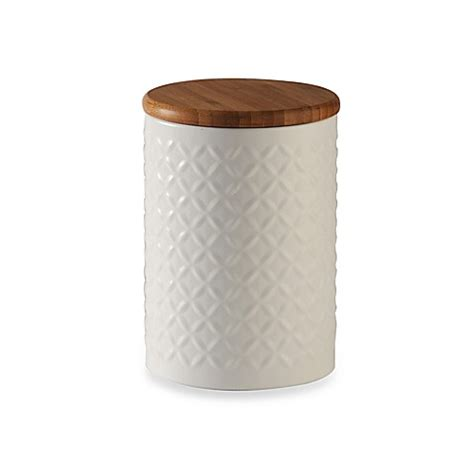bed bath and beyond canisters typhoon 174 imprima diamond embossed canister in white bed