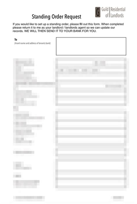 standing order form template standing order form tenant to landlord grl landlord