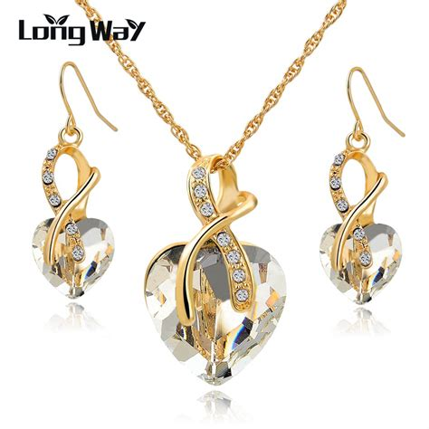 Austrian Necklace austrian necklace earrings set luxury gold plated