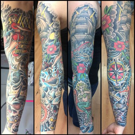 american traditional sleeve rites of passage tattoo
