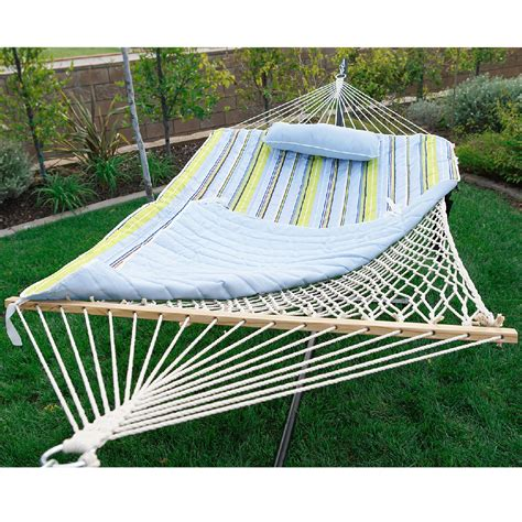 Cotton Hammock With Stand Blue Green Cotton Rope Outdoor Portable Hammock Swing With