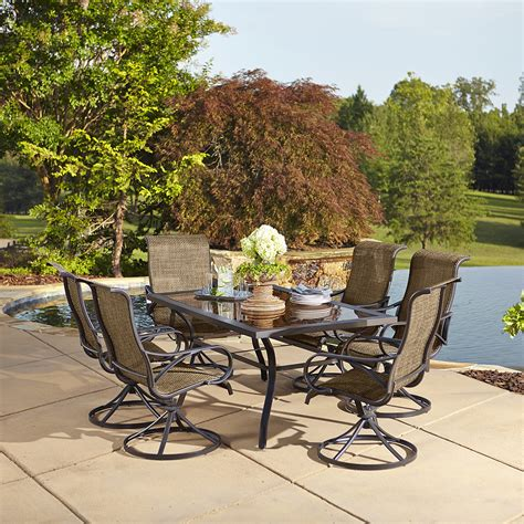 Grand Resort Oak Hill 7 Piece Swivel Outdoor Set In Tan 7 Patio Dining Set With Swivel Chairs